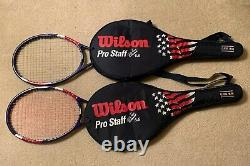 2 Stars & Stripes Wilson Pro Staff 85 Tour Classic 6.6 Courier tennis racquet