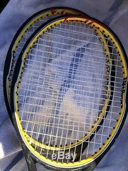(2) Wilson Hyper Pro Staff Tour 6.0 90 Federer 4 1/2 Tennis Racquet Strung