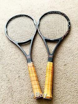 2 Wilson K Factor 88 Pete Sampras tennis racquets. Leather Grips. 4 3/8