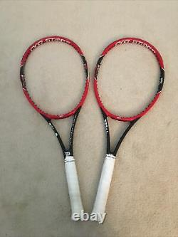 2 Wilson Pro Staff 97 4 3/8 Tennis Racquets Unstrung, 1 with Lead Tape
