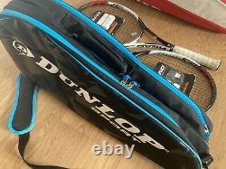 2 x Head Speed MP Tennis Rackets & Wilson 9 Racket Bag & Dunlop 3 Racket Bag
