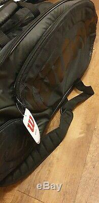 2 x Wilson Pro Staff 97 Rf Autograph Tennis Rackets and Black on Black Tour Bag