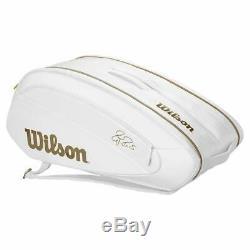 Brand New Wilson FEDERER DNA12 Racquet Tennis Bag White/Gold Wimbledon Ltd. Ed