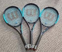 Lot of 3 Good Condition Used Wilson Ultra 100 Counterveil Racquets 4 3/8 Grip