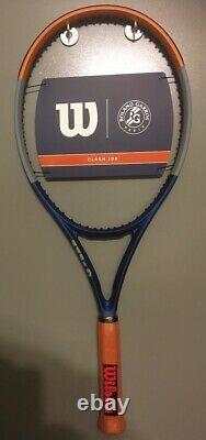 New WILSON Clash 100 Roland Garros Tennis Racquet 4 1/2 Racket LTD. EDITION