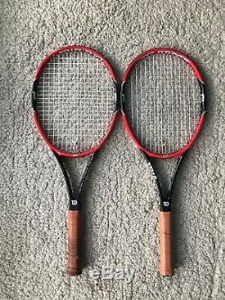 Pair of Wilson Pro Staff 97 Tennis Racket Strung Grip 4