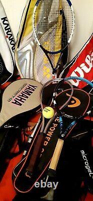 TENNIS SQUASH RACKET JOBLOT x 47 BABOLAT HEAD WILSON DONNAY YONEX FRED PERRY