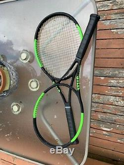 Two Used Wilson Blade 104 v6 Tennis Racquets. One stung one unstrung