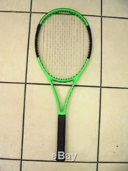 WILSON BLADE 98L TENNIS RQT. STRUNG with HYBRID STRINGS LUX / S. GUT 4 1/8
